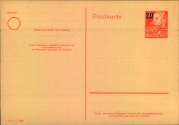 Ganzsachenkarte 20 Auf 30 Pfg. Engels - DDR