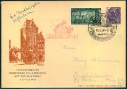 """1954, Privatumschlag 6 Pfg. Fünfjahresplan Zum """"""""Pfingsttreffen Deutscher Philatelisten Auf Der Wartburg"""""""" Mit Sonderste - DDR"""