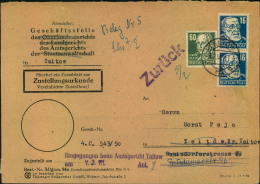 1951, Ortszustellung In TELTOW Mit Köpfe I Frankatur. Besserre 92 Pfg. Rate. - DDR
