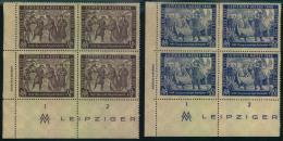 """1948, Herbstmesse Komplett Im Postfrischen Viererblock Mit Druckvermerk """"""""GIESECKE & DEVRIENT. 16 Pfg. Mit Plattenfe - Soviet Zone"""
