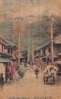 Yokohama Japan Street Scene 100 Stone Steps, C1900s/10s Vintage Balsa Wood Postcard - Yokohama