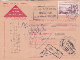 """Griffe """" RETOUR A L'ENVOYEUR 1117 """" GC -  LE CONQUET FINISTERE  Sur CP REMBOURSEMENT Affrt 85f EVIAN Seul - 1921-1960: Modern Period"""