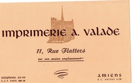 Buvard  - AMIENS  11 Rue Flatters  Imprimerie A. Valade - Stationeries (flat Articles)