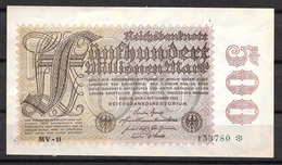Allemagne  500 Mark - [ 3] 1918-1933 : Repubblica  Di Weimar