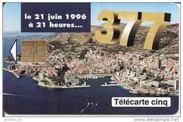 1996 MONACO 377 Télécarte 5 Unités
