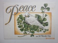 Postcard Peace On St Patrick's Day Shamrock & Dove PU Eire 1993 My Ref B2153 - Saints