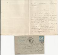 VIMOUTIERS CH SEBIRE NOTAIRE LETTRE ET ENVELOPPE AVEC CACHET ANNEE 1897 - France
