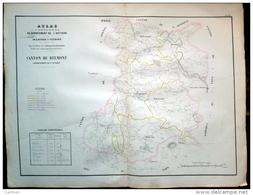 12 AVEYRON GRANDE CARTE 19° DU CANTON DE BELMONT AVEC ST SEVER MURASSON PROHENCOUX  REBOURGUIL MONTLAUR - Cartes Géographiques