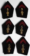 6 Insigne Patte De Col Vareuse Tissu 5 RI Régiment D'infanterie Fil Doré 2 Modèles - Scudetti In Tela