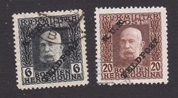 Austria, Scott #M5, M8, Used, Bosnia Stamps Of Franz Josef Overprinted, Issued 1915 - Austria