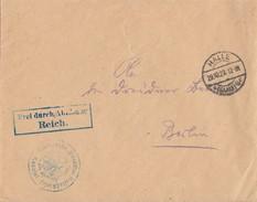 DR Brief Frei Durch Ablösung Reich Halle 29.10.23 Gel. Nach Berlin - Deutschland