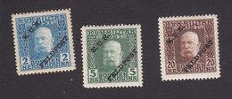 Austria, Scott #M2, M4, M8, Mint Hinged, Bosnia Stamps Of Franz Josef Overprinted, Issued 1915 - Austria
