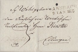 Bayern Minifaltbrief L2 Ansbach 9.1.1836 Mit Inhalt Gelaufen Nach Ellingen - Bayern