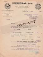 Facture 1930 EMMENTAL S.A. / 25 Pontarlier Doubs / Fromage / Emmental Suisse Et Français / Comté - Food
