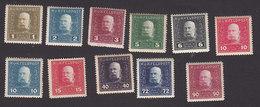 Austria, Scott #M22-M28, M30, M36, M40, M42, Mint Hinged, Franz Josef, Issued 1915