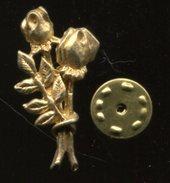 Pin´s - Roses Fleur Couleur Or - Pin's