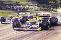 Nigel Mansell - Nelson Piquet  -  Williams-Honda  - British Grand Prix 1986  - Michael Turner Artwork -   Postcard - Grand Prix / F1