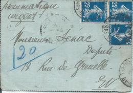 Lettre Pleumatique Urgent  3 Timbres Semeuse 25c Oblit195 Paris B ST Germin 1921 - Marcophilie (Lettres)