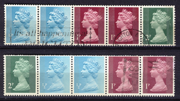 Great Britain 1971, Booklet Pane Definitive Queen Elisabeth II, Pairs (o), Used - 1952-.... (Elizabeth II)