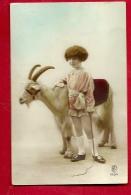 PRR-27  Enfant Et Chèvre à Poil Long. Circulé En 1925 - Dieren