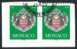 MONACO 2005 - Yv. 2502 Obl. Paire 2 Ex TB (autoadhésif Sur Son Fragment De Carnet Intact) - Armoiries  ..Réf.MON20417 - Monaco