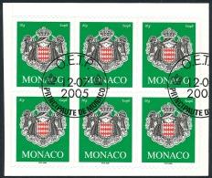 MONACO 2005 - Yv. 2502 Obl. Bloc De 6 Ex TB (autoadhésif Sur Son Fragment De Carnet Intact) - Armoiries  ..Réf.MON20418 - Monaco