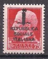 R.S.I. 1944  EFFIGE V.EMANUELE III SASS. 494 MLH VF - 4. 1944-45 Repubblica Sociale
