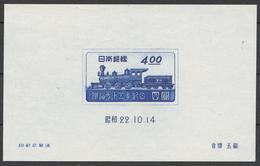 Japan Bl.13(*) 75th ANNIV. OF RAILWAY SERVICE IN JAPAN, LOCOMOTIVE
