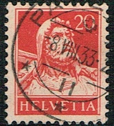 TIMBRE 1932 OBLITERE PAPIER GRILLEE . CATALOGUES: DES TIMBRES SUISSES Nr:174z. Y&TELLIER Nr:203a. MICHEL Nr:206z. - Gebraucht