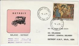 Milano Boston Detroit 1971 - Alitalia - 1er Vol Inaugural Flight Erstflug Primo Volo - USA - 1946-.. République