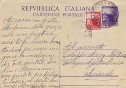 Italia 1948 - Cartolina Postale, Democratica 4L Viola Con 4L Democratica - 6. 1946-.. Repubblica