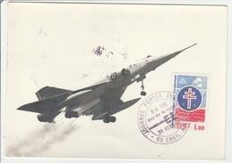 Creil Air 1976 - BT JPO Base Aérienne 110 - Mirage - Carte Tâchée - Armée De L'air - Cachets Militaires A Partir De 1900 (hors Guerres)
