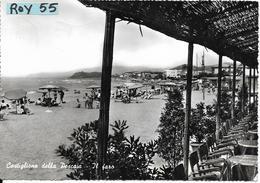 Toscana-grosseto-castiglione Della Pescaia Veduta Spiaggia Ombrelloni Bagnanti  Centro Ristoro Tavoli Il Faro Anni 50 - Italia
