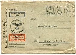 VR 60 Sarre Lettre En Franchise Oblitération Flamme Saarbrucken 10 Jahre 1933 - 1943 WHW - Lettres & Documents