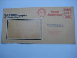 Firmen Freistempel , Meterstempel Auf Beleg Aus    Stuttgart Feuerbach , Mit WHW Propagandastempel  1938 - Deutschland