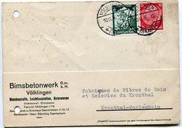 VR 62 Sarre Carte Postale Tarif Imprimé 10.11.36 Völklingen - Lettres & Documents
