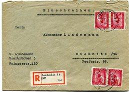 VR 68 Sarre Lettre Recommandé  De Saarbrucken 3 Du 11.7.49 Avec 4 Mi 264 - Lettres & Documents