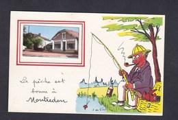 CPSM PF Montredon (46) La Pêche Est Bonne à ... ( Illustration Pecheur Et Petite Vue Epicerie Tabacs ) - France