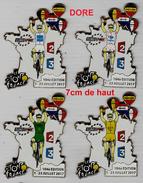 Pins SERIE DE 4 GRANDS PIN´S VELO, TOUR DE FRANCE 2017 FINITION DORE N°21/25, - Cycling