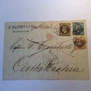 France Affr. Empire Lauré 60c MARSEILLE 1868 Lettre > CIVITAVECCHIA VIA DI MARE, STATO PONTIFICIO (cover Lettera Roma - 1849-1876: Période Classique