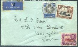 1943 K.U.T. Airmail Cover - De Vere Gardens, Kensington, London - Kenya, Uganda & Tanganyika