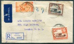 1949 K.U.T. Jinja, Uganda Registered National Bank Of India Airmail Cover - Lloyds Bank, London - Kenya, Uganda & Tanganyika