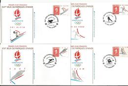 France, XVIe Jeux Olympiques D'Hiver 1992, Albertville, 4 FDC (4x 12)