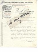 88 - Vosges - LANEUVEVILLE-LES-RAON - Facture LECUVE - Exploitation Du Sapin Des Vosges - Scierie - 1900 - REF 57C - 1900 – 1949