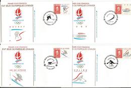 France, XVIe Jeux Olympiques D'Hiver 1992, Albertville, 4 FDC (4x 13)