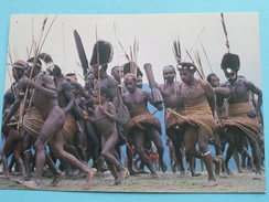 YALI TRIBESMEN, KNOW AS THE HOOP PEOPLE, PERFORM WAR DANCE - HIGHLANDS IRIAN JAYA () Anno 19?? ( Details Zie Foto´s ) !! - Indonésie