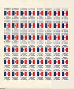 Feuille Complete De 2 Types De Vignettes De Gaulle - De Gaulle (Général)