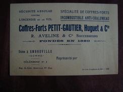 Carte De Visite Coffres-Forts PETIT -GAUTIER, Huguet & Cie Usine à EMBREVILLE SOMME - Visitekaartjes