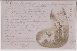 CARTE PHOTO : CHASSEUR ET SES CHIENS - CHAISSE DIALECTE BOURGUIGNON - DIJON 1902 - 2 SCANS - - Chasse
