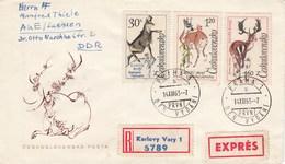 Tchécoslovaquie - LettresMammifères Divers - Année 1963 - Y.T. 1306/1311 2 Enveloppes - Czechoslovakia